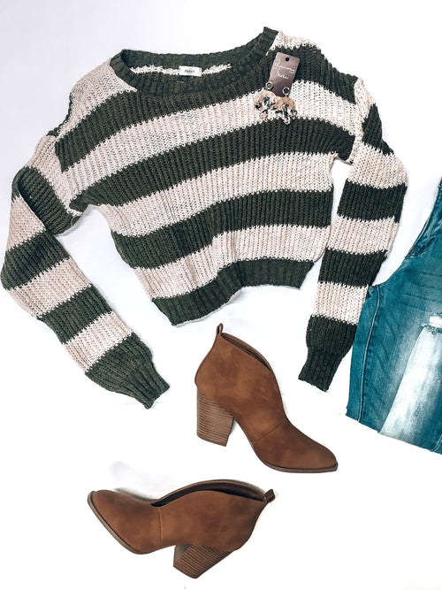 White Stripes Sweater-Olive-Women's TOP-New Arrivals-Runway Seven