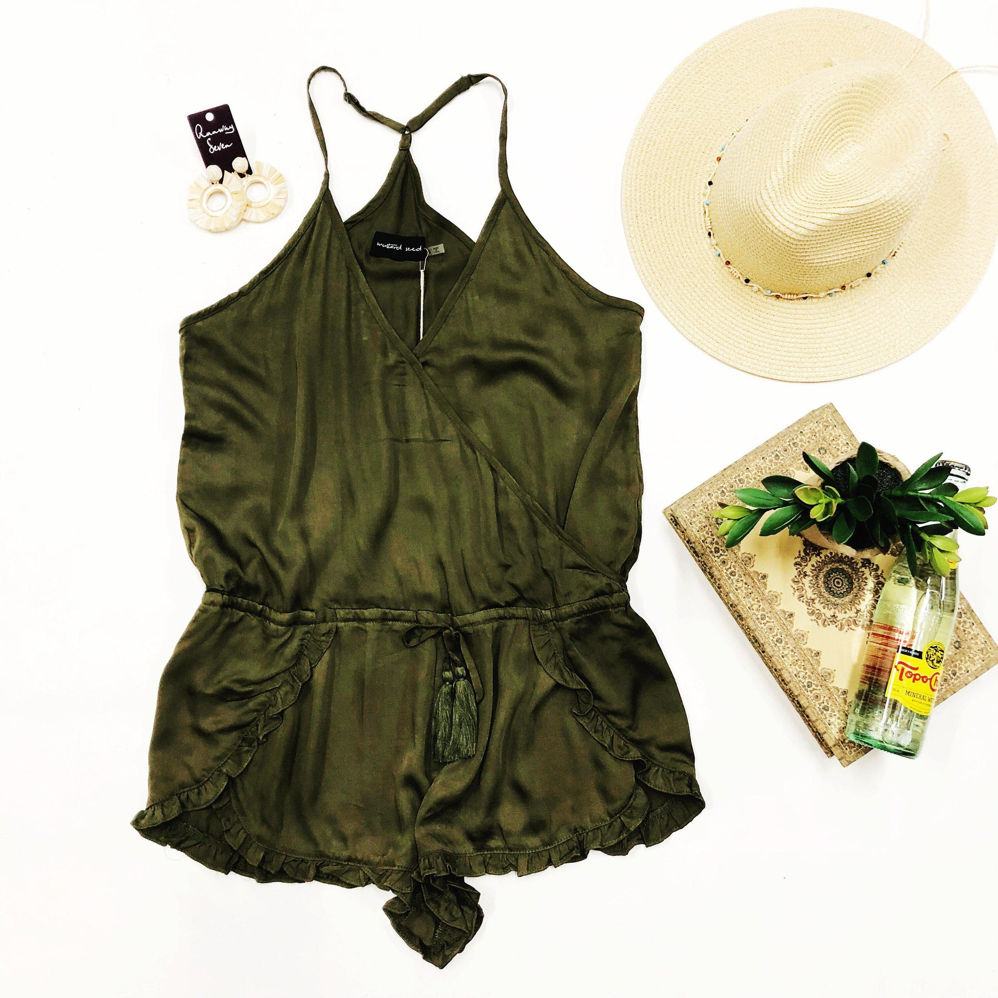 Lost in The Jungle Olive Romper