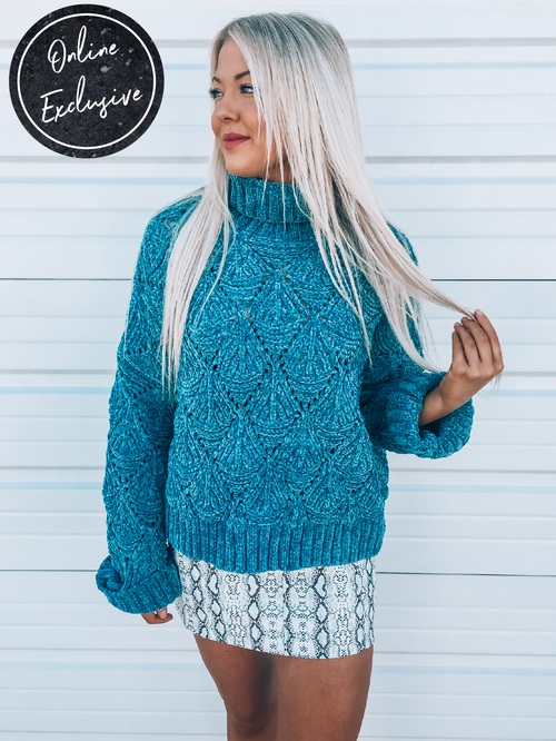 Online Exclusive: Totally Teal Sweater-Women's Sweaters-New Arrivals-Runway Seven