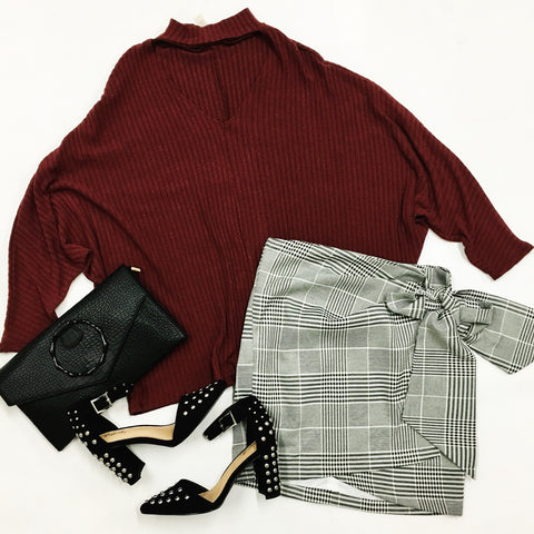 Do or Tie Plaid Skirt