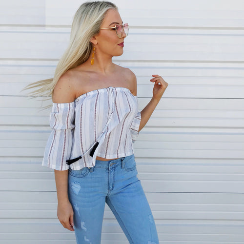 Sea's The Day Off-The-Shoulder Top