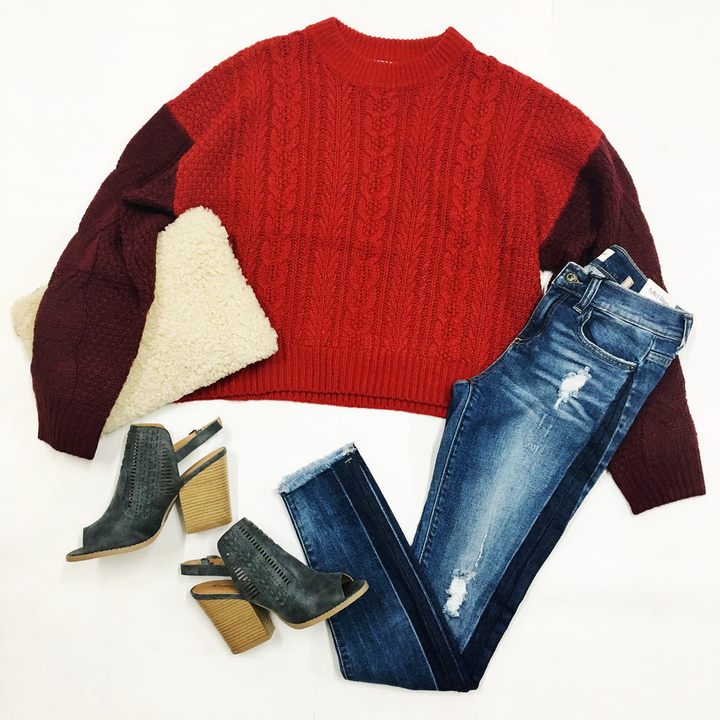 Red Hot Color-Block Sweater