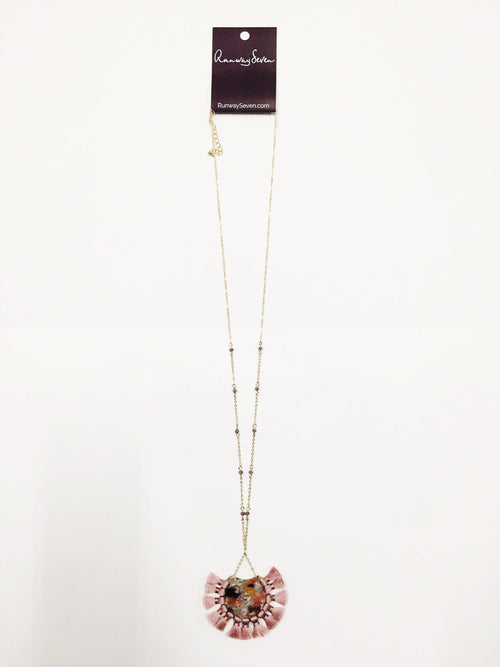 Pink Marble Necklace-Women's JEWELRY-New Arrivals-Runway Seven
