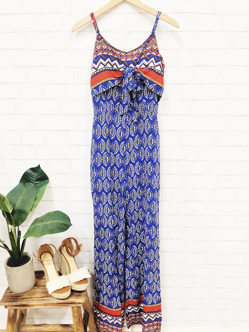 Blue Fans Jumpsuit-Women's ROMPER-New Arrivals-Runway Seven