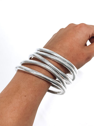 Trendy Jelly Bangle Set-Silver-Women's ACCESSORIES-New Arrivals-Runway Seven