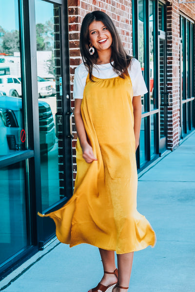 Travel Therapy Dress-Mustard