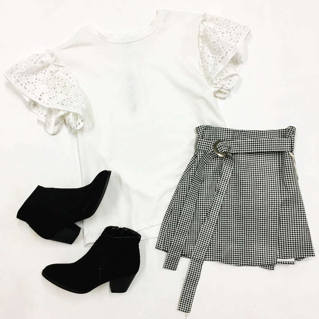 Get A Clue Gingham Skirt