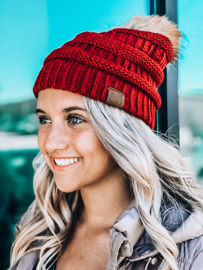 Faux Fur Pom C.C. Beanie-Burgundy-Women's Hat-New Arrivals-Runway Seven