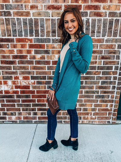 Bold Ambition Cardigan Sweater-Teal-Women's SWEATER-New Arrivals-Runway Seven