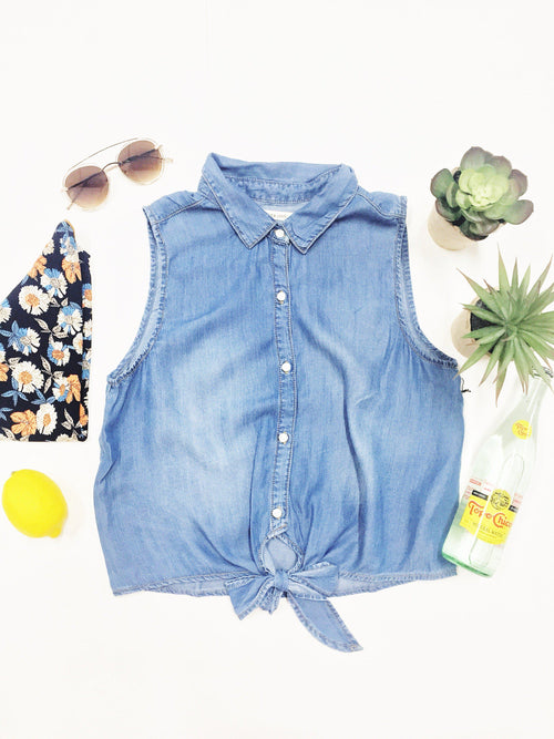 Sunny Days Denim Top-Women's TOP-New Arrivals-Runway Seven