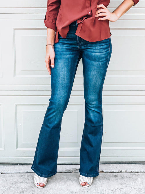 No Brainer High-Waisted Flare Jeans-Women's Bottoms-New Arrivals-Runway Seven