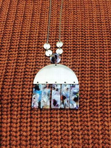Marble Half Moon Necklace