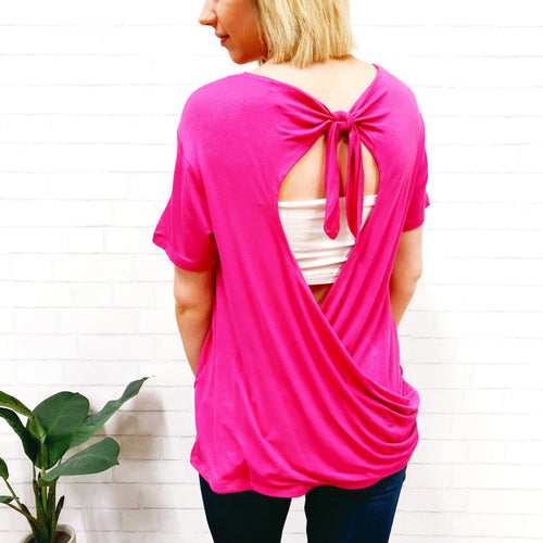Think Pink Open Back Tee-Women's TOP-New Arrivals-Runway Seven