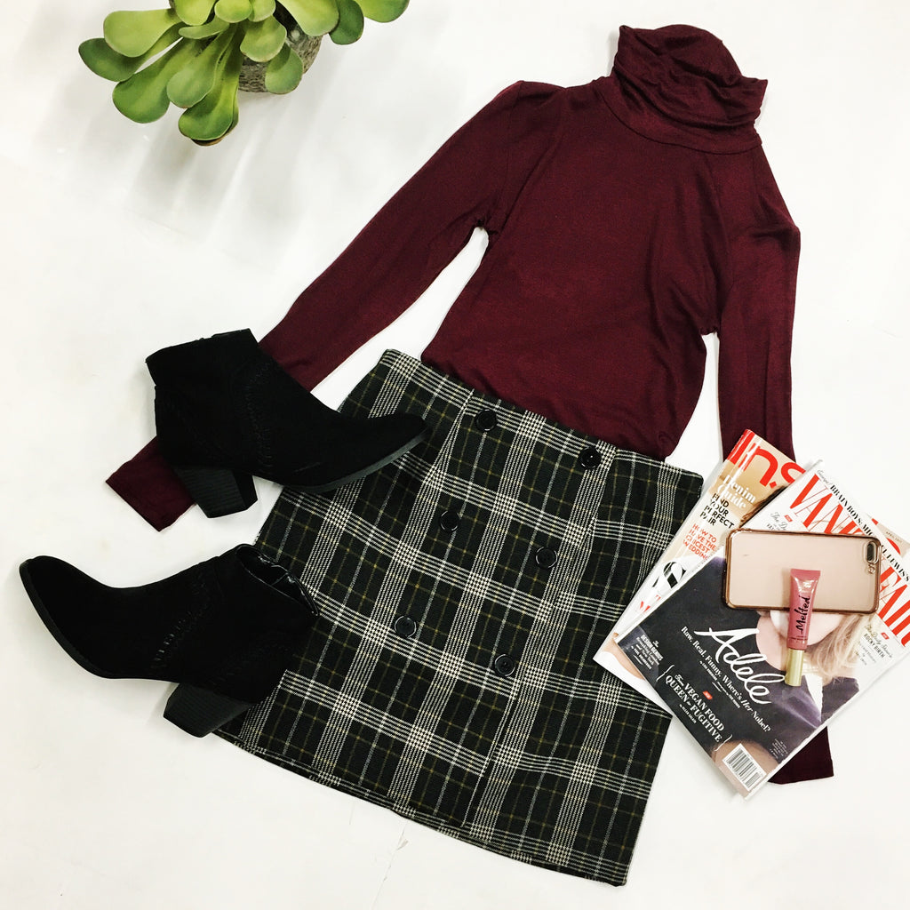 Cute As A Button Plaid Skirt