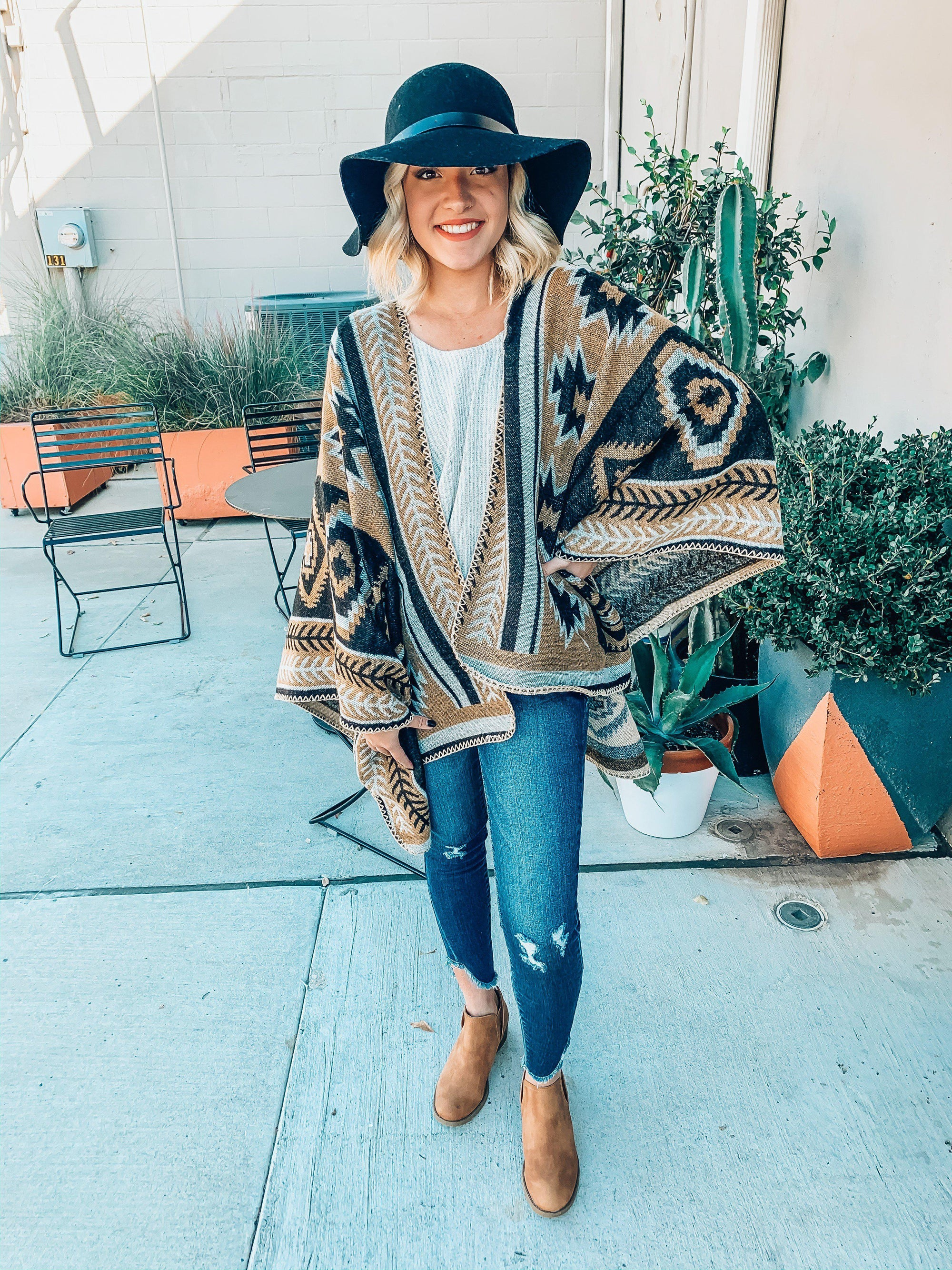 Arizona Vacation Poncho-Women's SWEATER-New Arrivals-Runway Seven