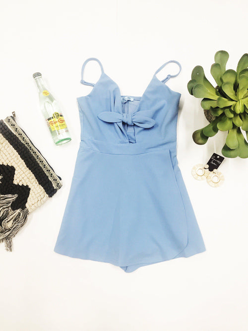 Baby Blues Wrap Romper-Women's ROMPER-New Arrivals-Runway Seven