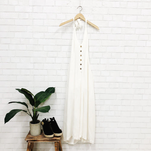 White Sand Jumpsuit-Women's ROMPER-New Arrivals-Runway Seven