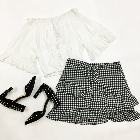Out and About Gingham Skirt