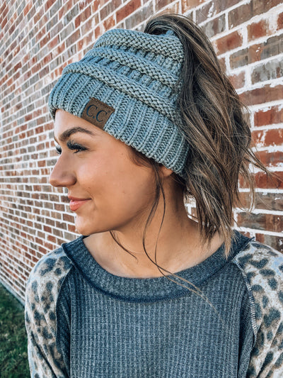 C.C. Messy Bun Beanie Tail™-Grey-Women's Hat-New Arrivals-Runway Seven