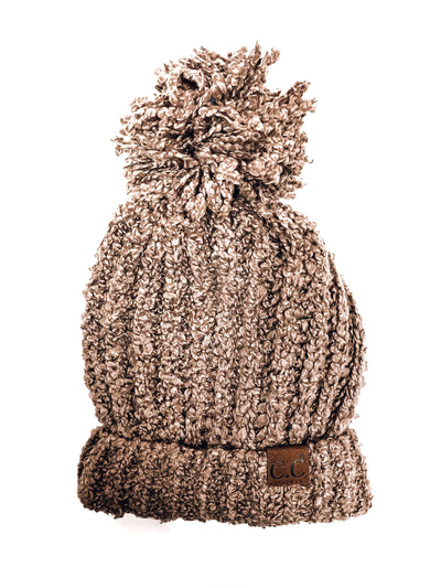 C.C. Chenille Pom Beanie-Taupe-Women's Hat-New Arrivals-Runway Seven