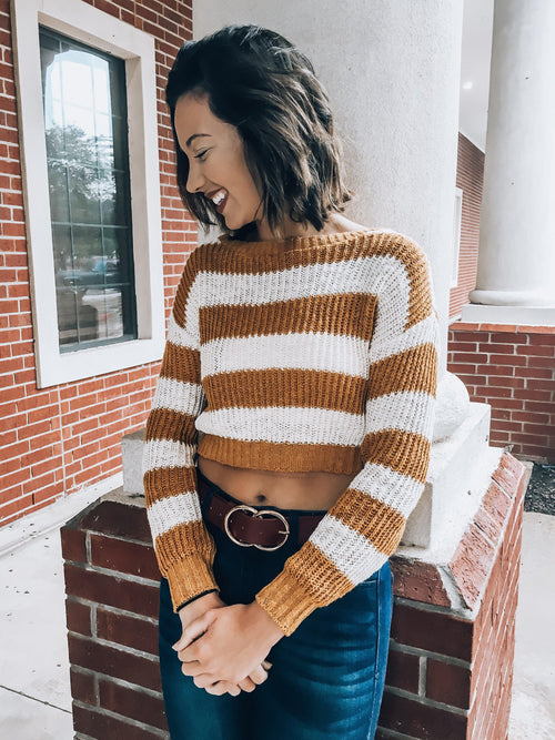 White Stripes Sweater-Mustard-Women's TOP-New Arrivals-Runway Seven