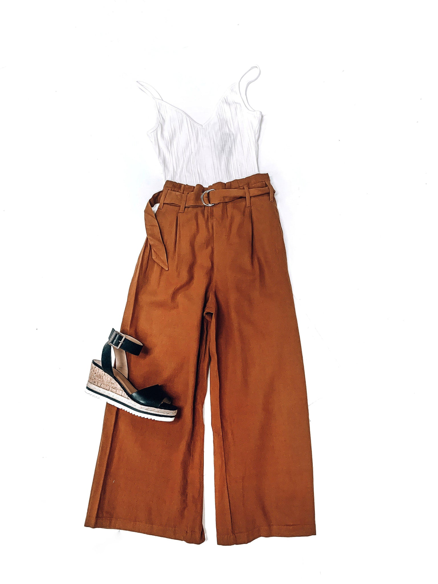 Right On Cue Linen Pants-Rust
