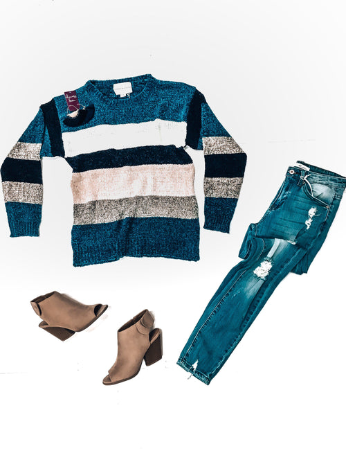 Blue Christmas Sweater-Women's SWEATER-New Arrivals-Runway Seven