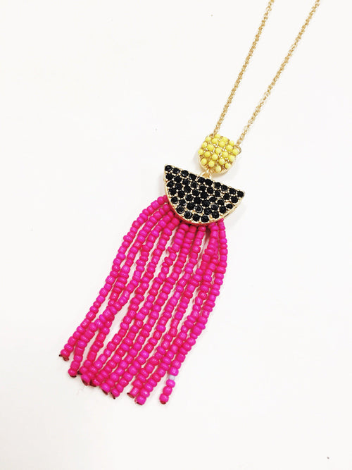 Beaded Tassel Necklace-Women's JEWELRY-New Arrivals-Runway Seven