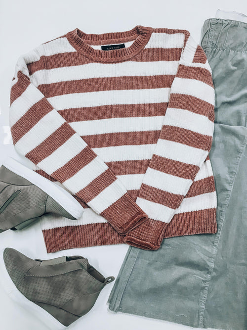 Striped in Mauve Sweater-Women's SWEATER-New Arrivals-Runway Seven