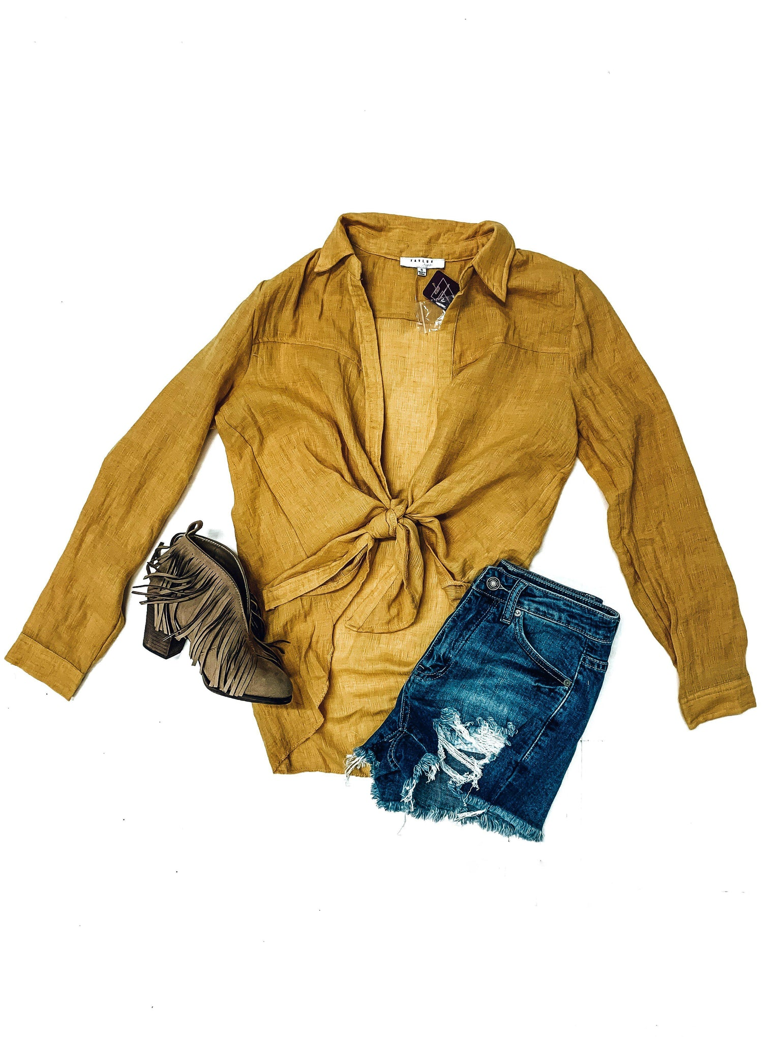 Southern Chic Top-Mustard