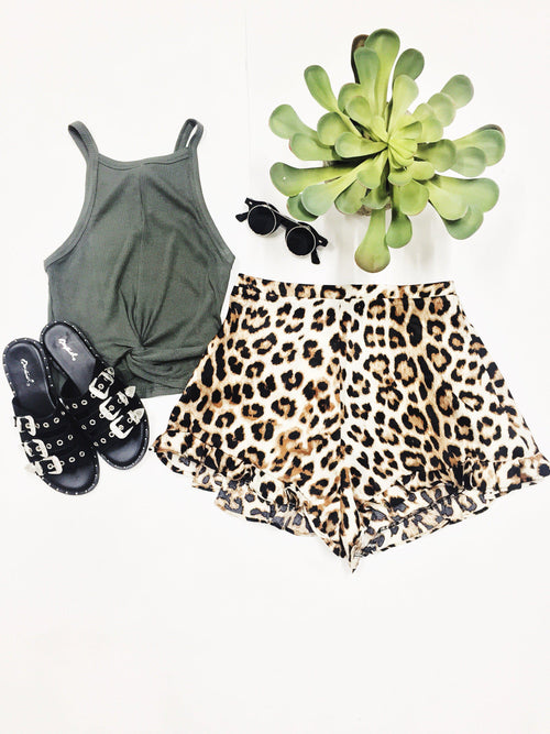 Welcome To The Jungle Ruffle Shorts-Women's Bottoms-New Arrivals-Runway Seven