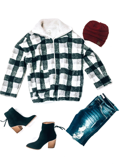 North Pole Plaid Jacket-Women's TOP-New Arrivals-Runway Seven
