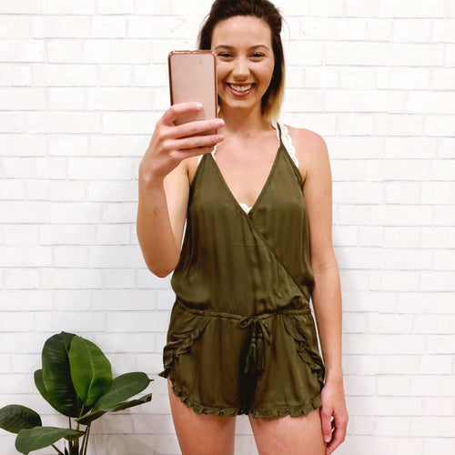 Lost in The Jungle Olive Romper-Women's ROMPER-New Arrivals-Runway Seven