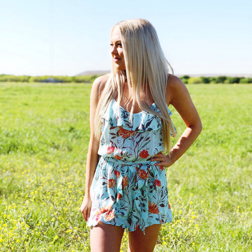 Blue Water Floral Romper