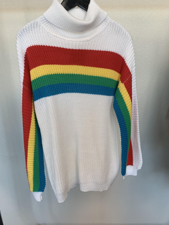 Double Rainbow Sweater-White-Women's SALE-New Arrivals-Runway Seven
