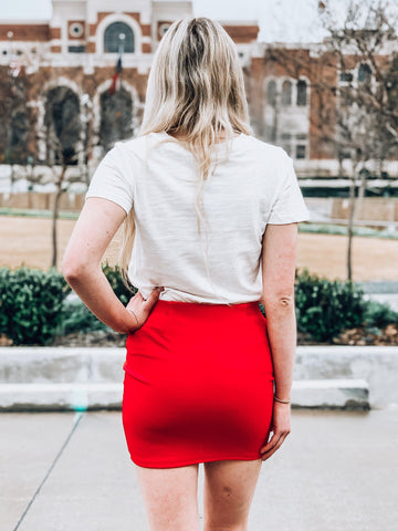 Coast To Coast Mini Skirt- Red
