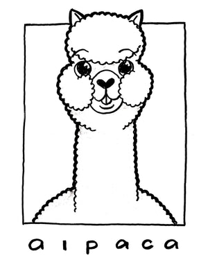 Alpaca Coloring Outlines