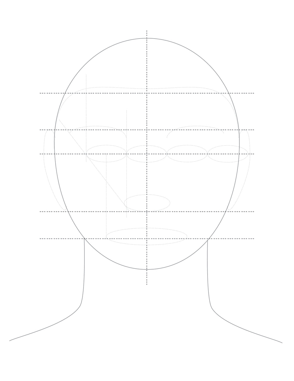 How to draw facial proportions.