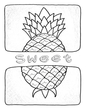 Pineapple Poster Coloring Outlines
