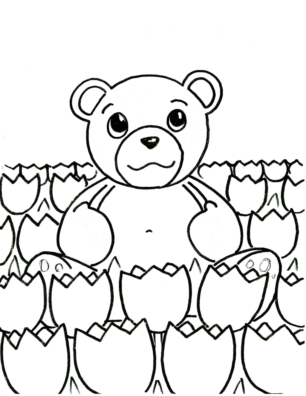 Teddy Bear Coloring Outlines