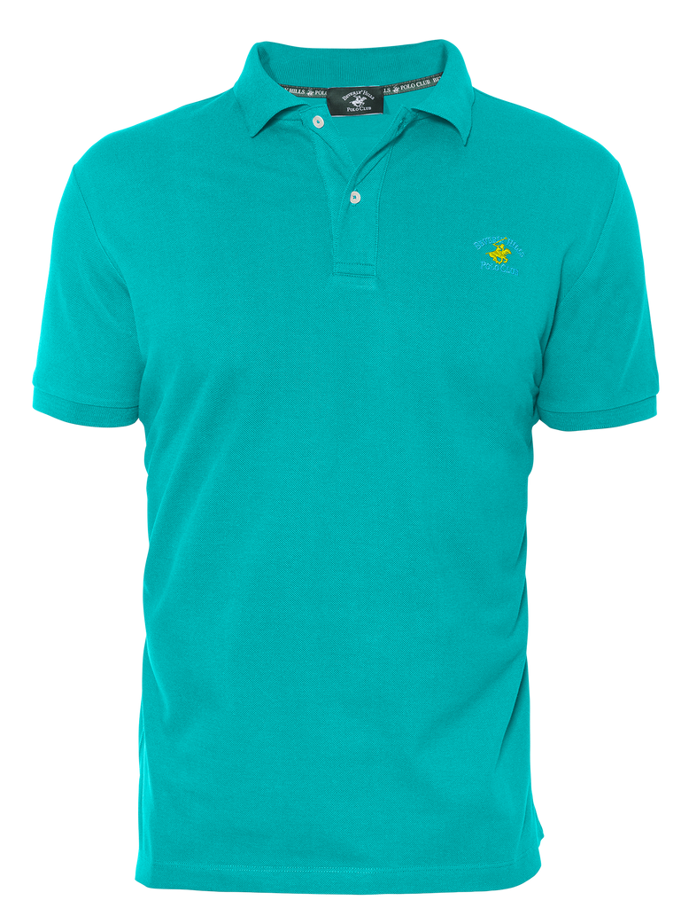LUXURY PIQUÉ REGULAR FIT WATER GREEN POLO