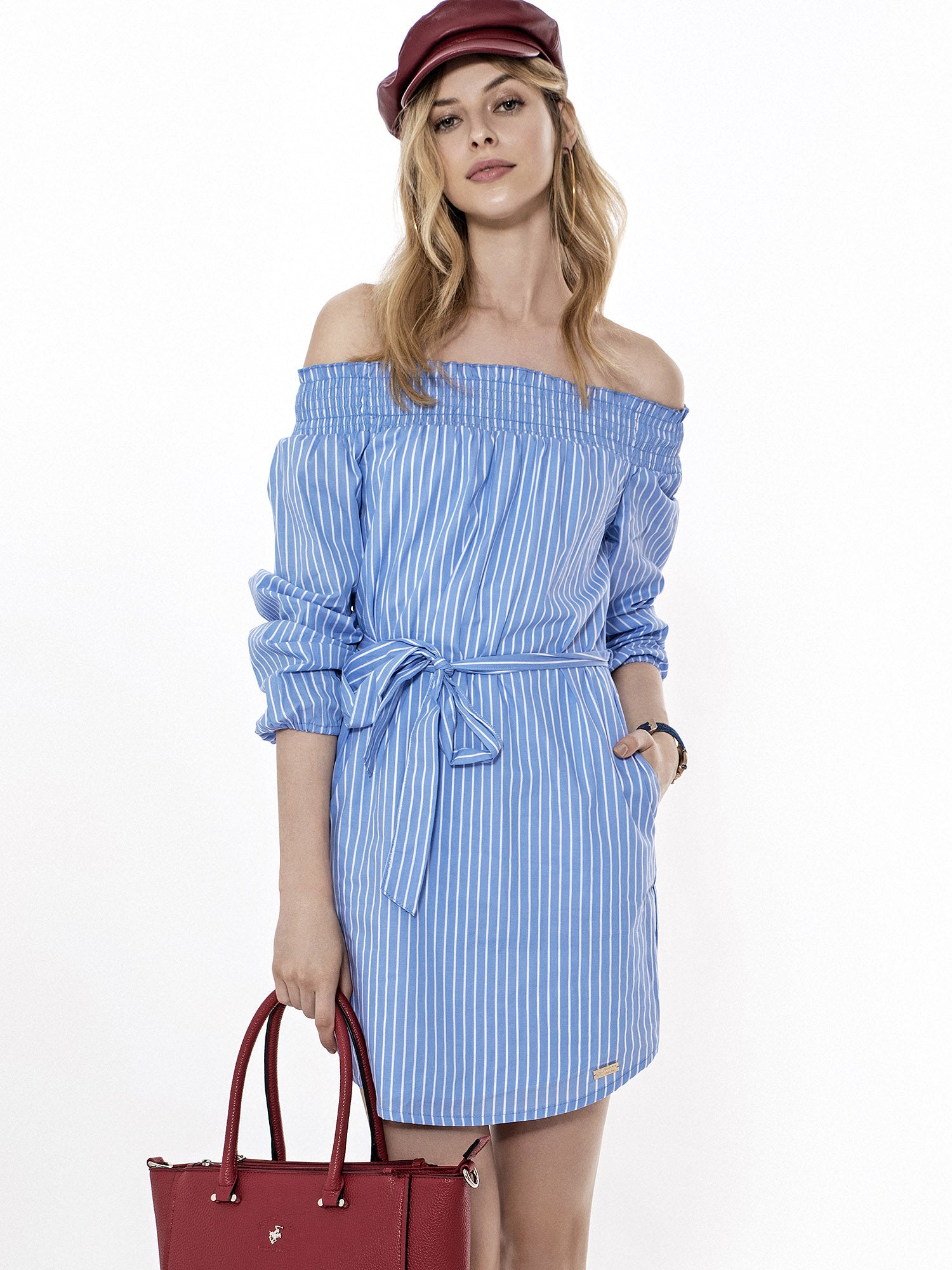 LUXURY SHOULDER-OFF BOLD STRIPE DRESS