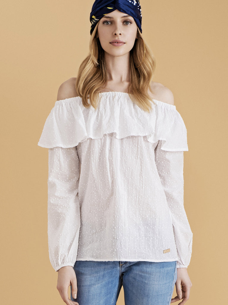 LUXURY OFF-THE-SHOULDER SHIRT
