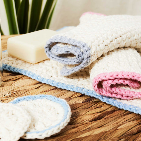 Download the free Eco Washcloth and Eco Cotton Pad crochet patterns