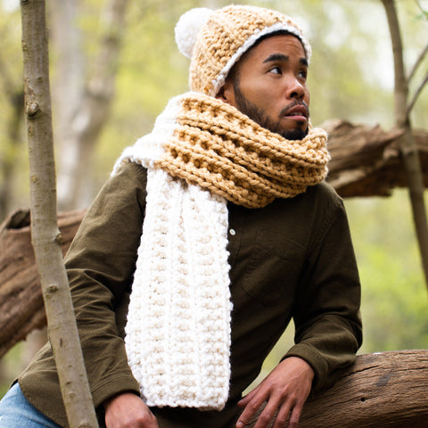 Download the Aylesford Set free hat and scarf knitting pattern