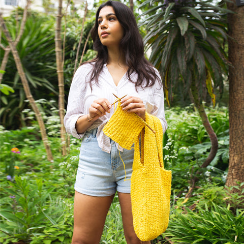 Shop the Lulworth Paper Bag Tote knitting pattern