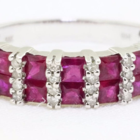 14k Channel set ruby diamond ring