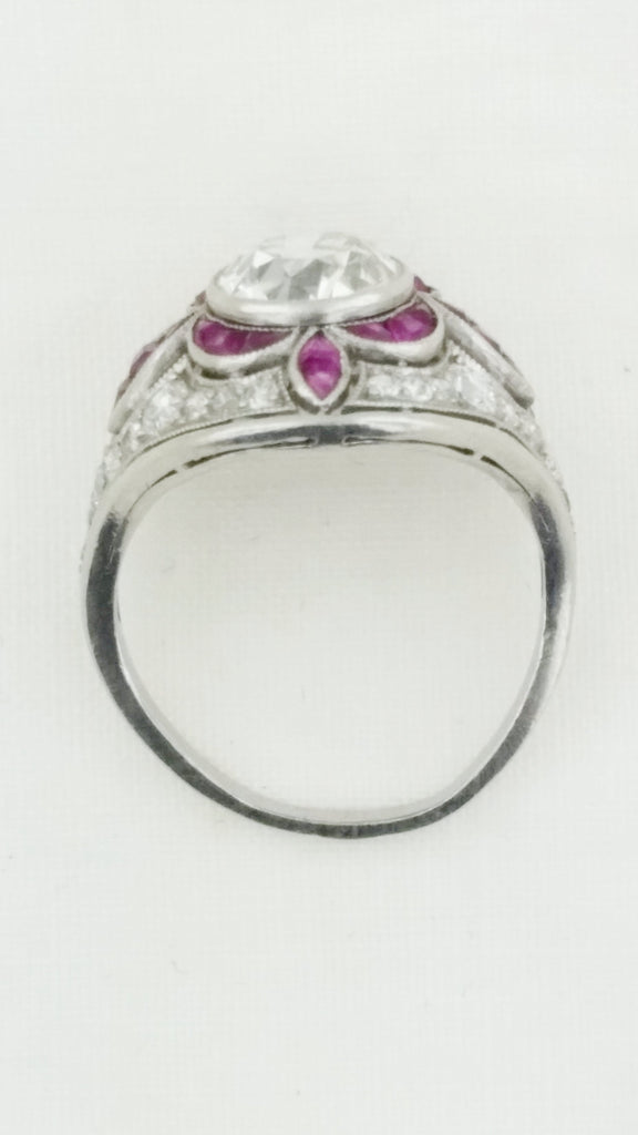 18k Antique 1.5 CT diamond and pink sapphire ring