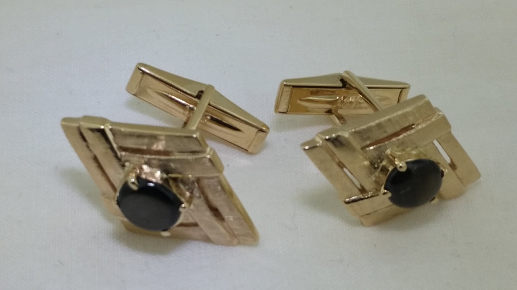 14k yellow gold Cats eye chrysoberyl Cufflinks