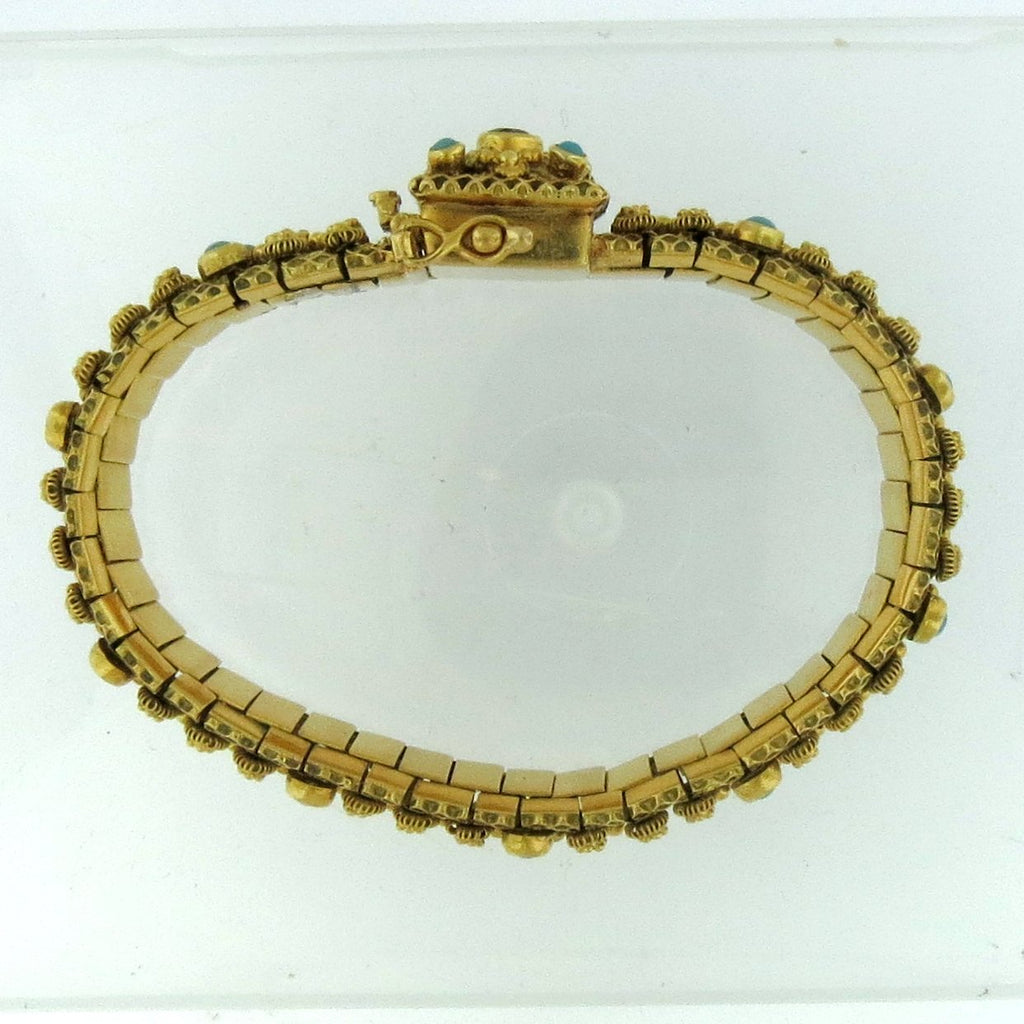 Ornate Vintage 19k Yellow Gold Cabochon & Persian Turquoise Bracelet